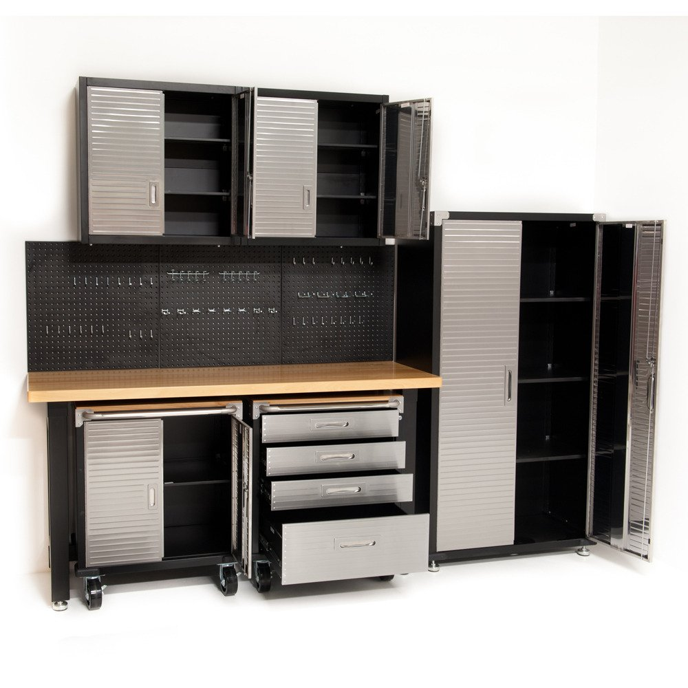 Seville Classics HD 7 Piece Standard Garage Storage System Timber  Workbench, Steel Upright Cabinet And Overhead Hanging Wall Cabinets:  Amazon.co.uk: DIY U0026 ...