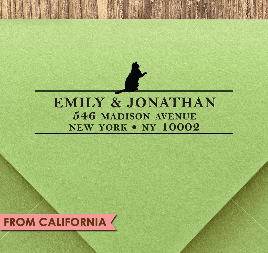 Cat Lover CUSTOM ADDRESS STAMP #3 with proof from USA,Self-Inking Stamp, Rubber Stamp, Return Address Stamp, Custom Stamp, RSVP Stamp, Christmas Gift, Wedding Gift, Gift for Cat Lover
