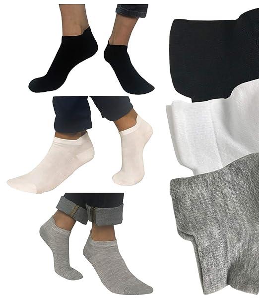 Calcetines tobilleros Unisex Amadeos - 6 pares (Blanco, 41 - 46)