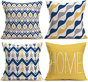 Gulidi Modern Geometric Pillow Covers 18x18 Inch Set of 4 Farmhouse Decor Navy Yellow Gray Sweet Home Quote Throw Pillow Covers Decorative Cushion Case Housewarming Gifts Holiday Decorations