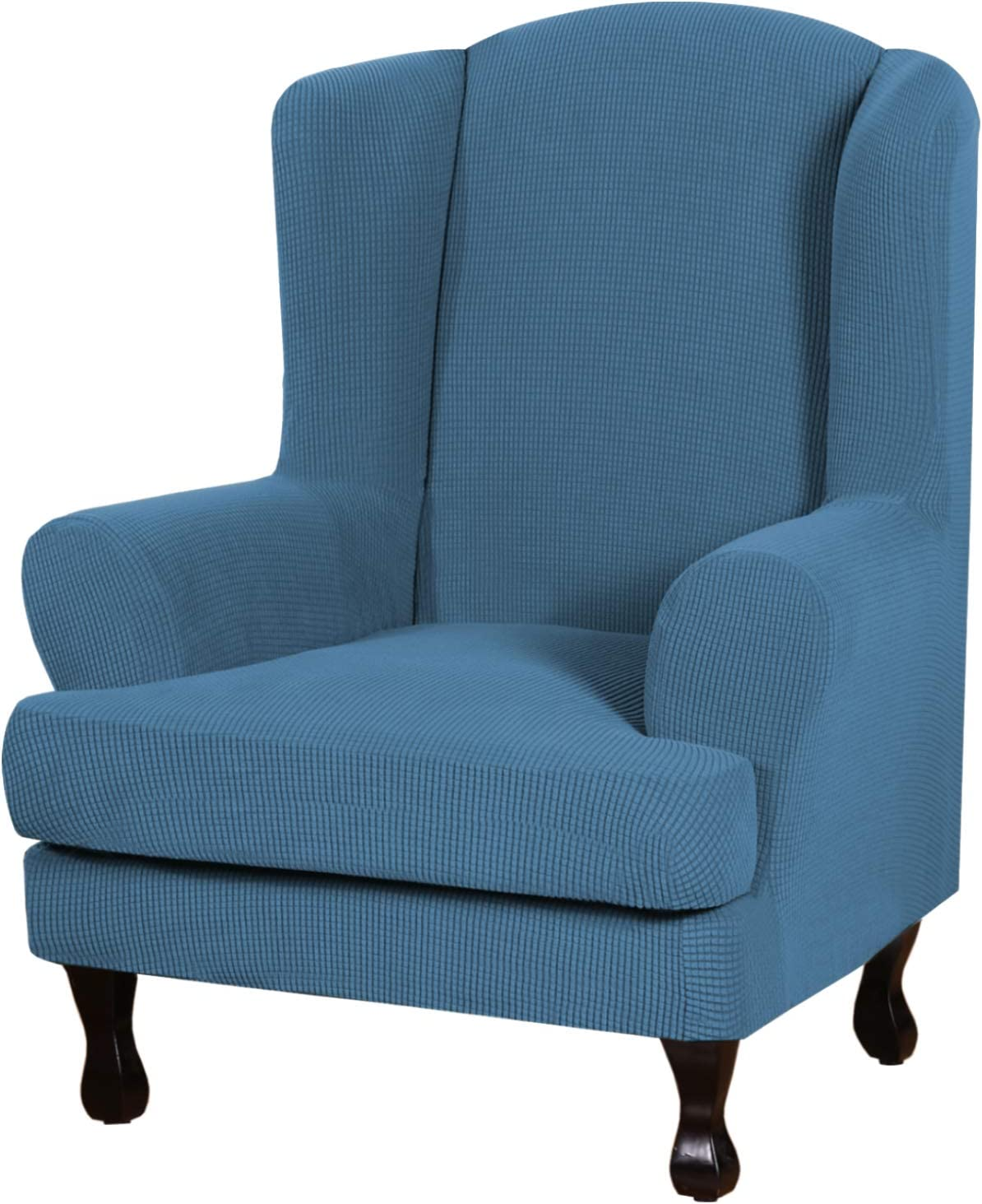 H.VERSAILTEX 2 Piece Stretch Jacquard Wingback Chair Covers Slipcovers Wing Chair Covers (Base Cover Plus Seat Cushion Cover) Furniture Covers for Wingback Chairs, Form Fitted Thick Soft, Dusty Blue