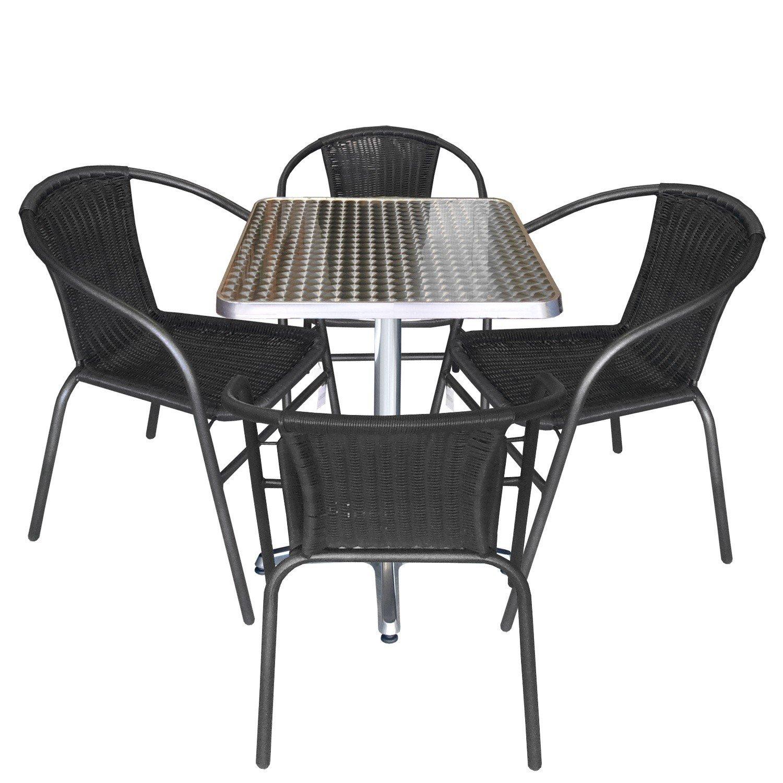 5tlg sitzgruppe bistrotisch aluminium 60x60cm 4x. Black Bedroom Furniture Sets. Home Design Ideas