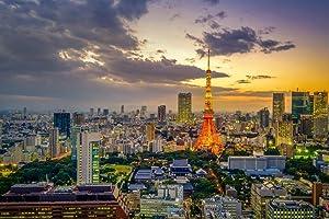 Sunset View of Tokyo Skyline Cityscape Japan Photo Photograph Cool Wall Decor Art Print Poster 36x24
