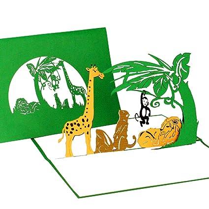 Pop Tarjeta De Up Animales Del Zoo Tarjeta De Cumpleaños