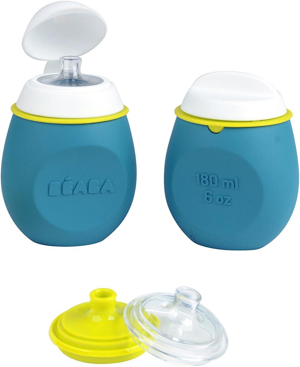 Béaba - Lote cantimplora y pote silicona bebe, unisex, color azul