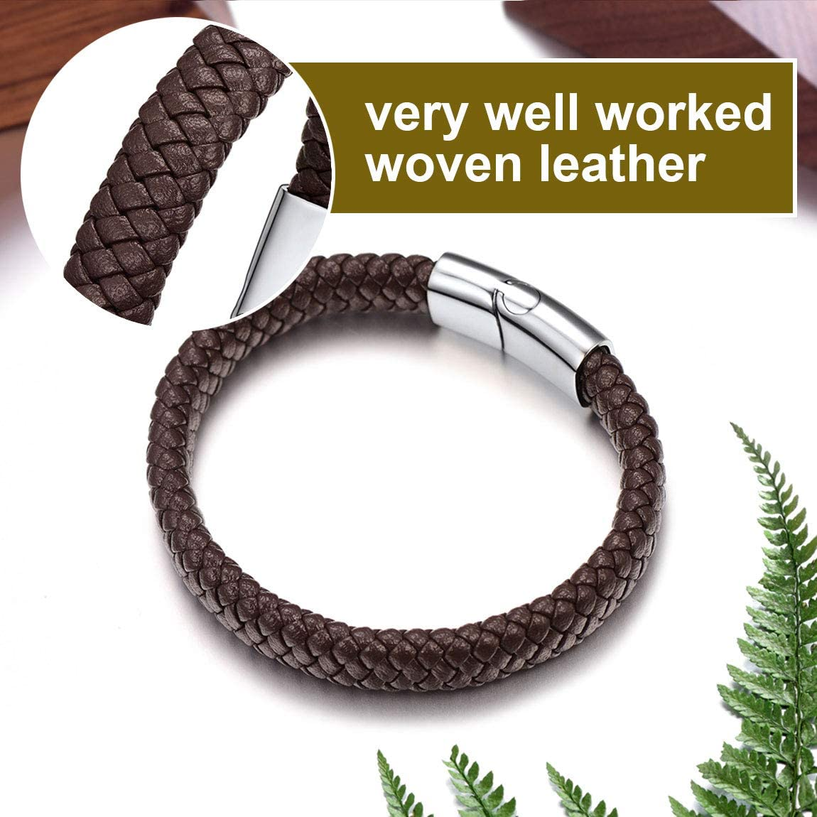ChainsPro Black//Brown Leather Rope Bracelet for Men Mens Leather Bracelet Braided Rope Bracelet for Men Boys Boyfriend Father Birthday