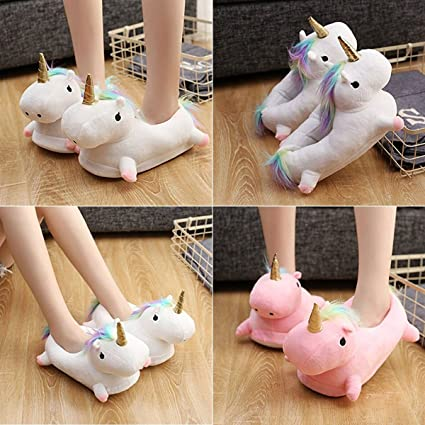 Zapatillas de estar por casa, Unicornio Felpa Suave Calentar Zapatillas Zapatos mujer invierno peluche para adulto (36EU-44EU) (Blanco): Amazon.es: Juguetes ...