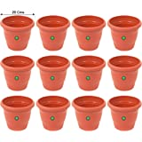 TrustBasket UV Treated Plastic Round Pot (8 Inches)-Terracotta Color-Set of 12