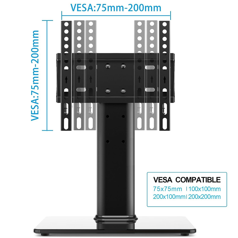 FITUEYES Meuble Design Support TV Pieds en Verre /à T/él/éviseur de 27 /à 50 Pouces TT104201GB