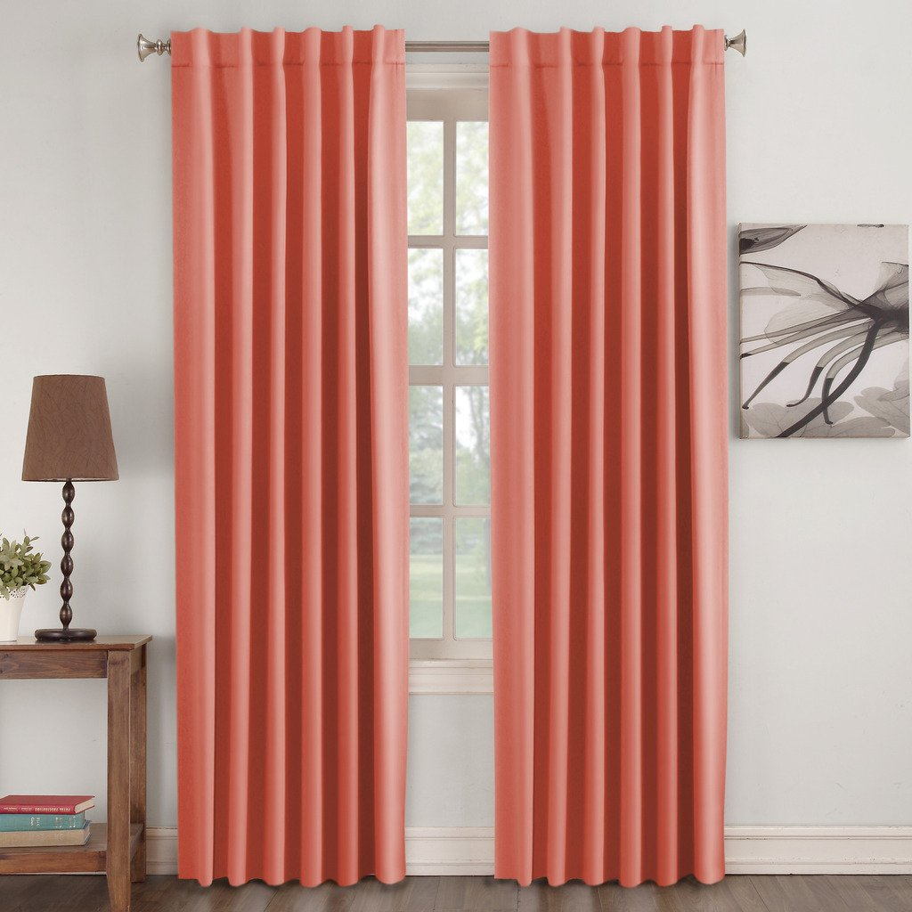Turquoize Insulated Thermal Back tab/ Rod- Pocket Blackout Curtains (2 panels), Coral, Solid Curtains for Girls room