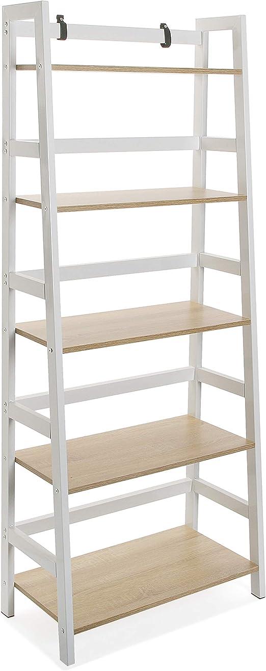 Versa 21300012 estantería 5 alturas vale, madera y metal, blanco y marrón, 163 x 34 x 64 cm.: Amazon.es: Juguetes y juegos