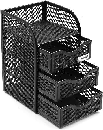 EasyPAG Mesh Desktop Corner Organizer,Black