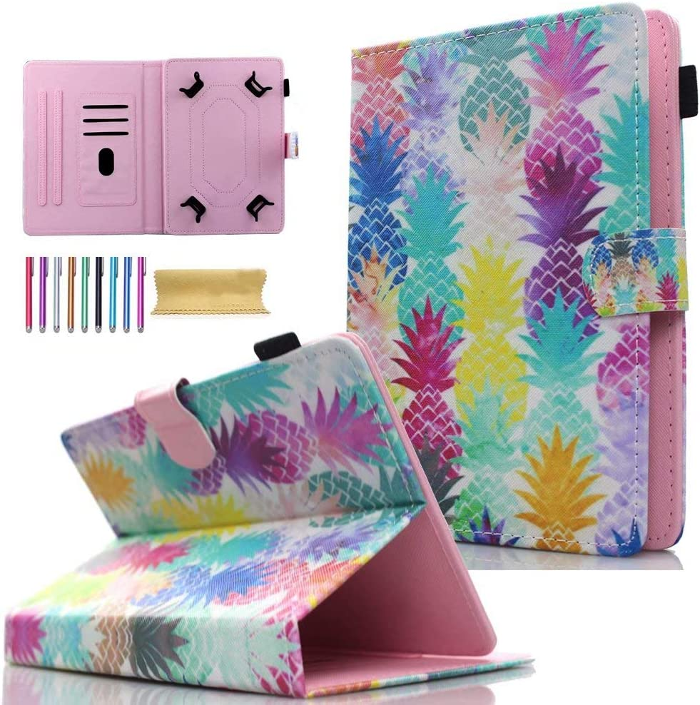 "Universal 7.0"" Tablet Case, AMOTIE Wallet Stand Cover w/Credit Card Slots for Samsung Galaxy Tab E 7.0/ Tab A 7.0/ Fire 7.0 2015 2017/ Lenovo/RCA and More 6.5-7.5 inch Tablet, Colorful Pineapple"