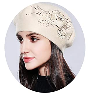5fabc941ef6 Amazon.com  Bonnet Femme Women Beret Cotton Wool Knitted Fashion ...