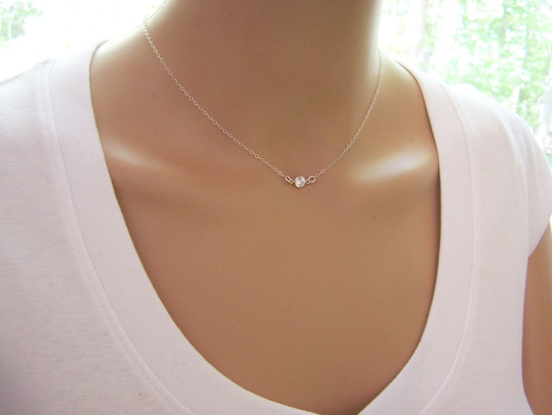 Tiny Sparkling CZ Choker Necklace - Sterling Silver Dainty Everyday Jewelry - Diamond Alternative Gift For Her