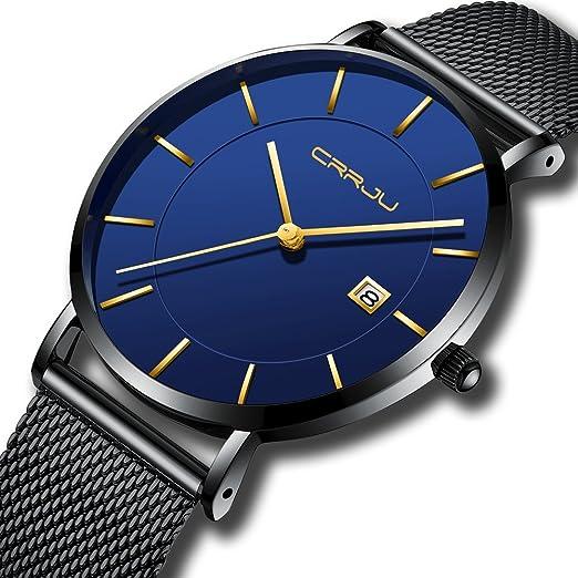 8794b609b034 CRRJU Relojes de Pulsera para Hombre de Acero Inoxidable analógico de  Cuarzo