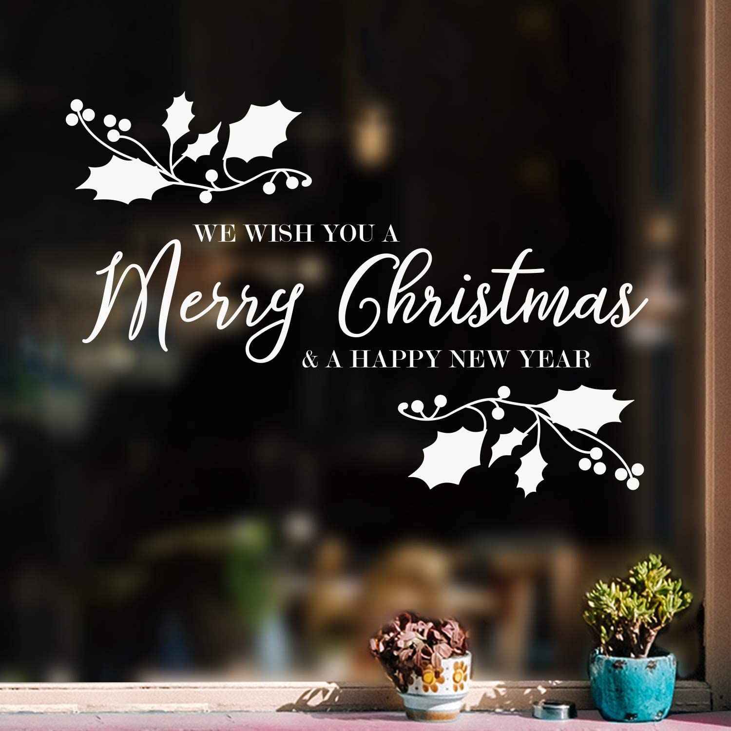 """Vinyl Wall Art Decal - We Wish You A Merry Christmas - 22.5"""" x 32"""" - Christmas Holiday Seasonal Sticker - Indoor Home Apartment Wall Door Window Bedroom Workplace Decor Decals (White)"""