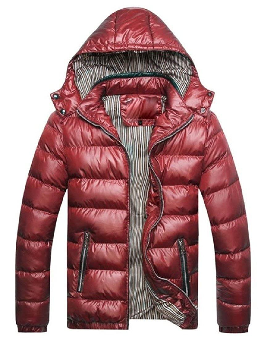 Winwinus Mens Warm Puffer Thickened Hood Winter Stylish Wadded Jacket