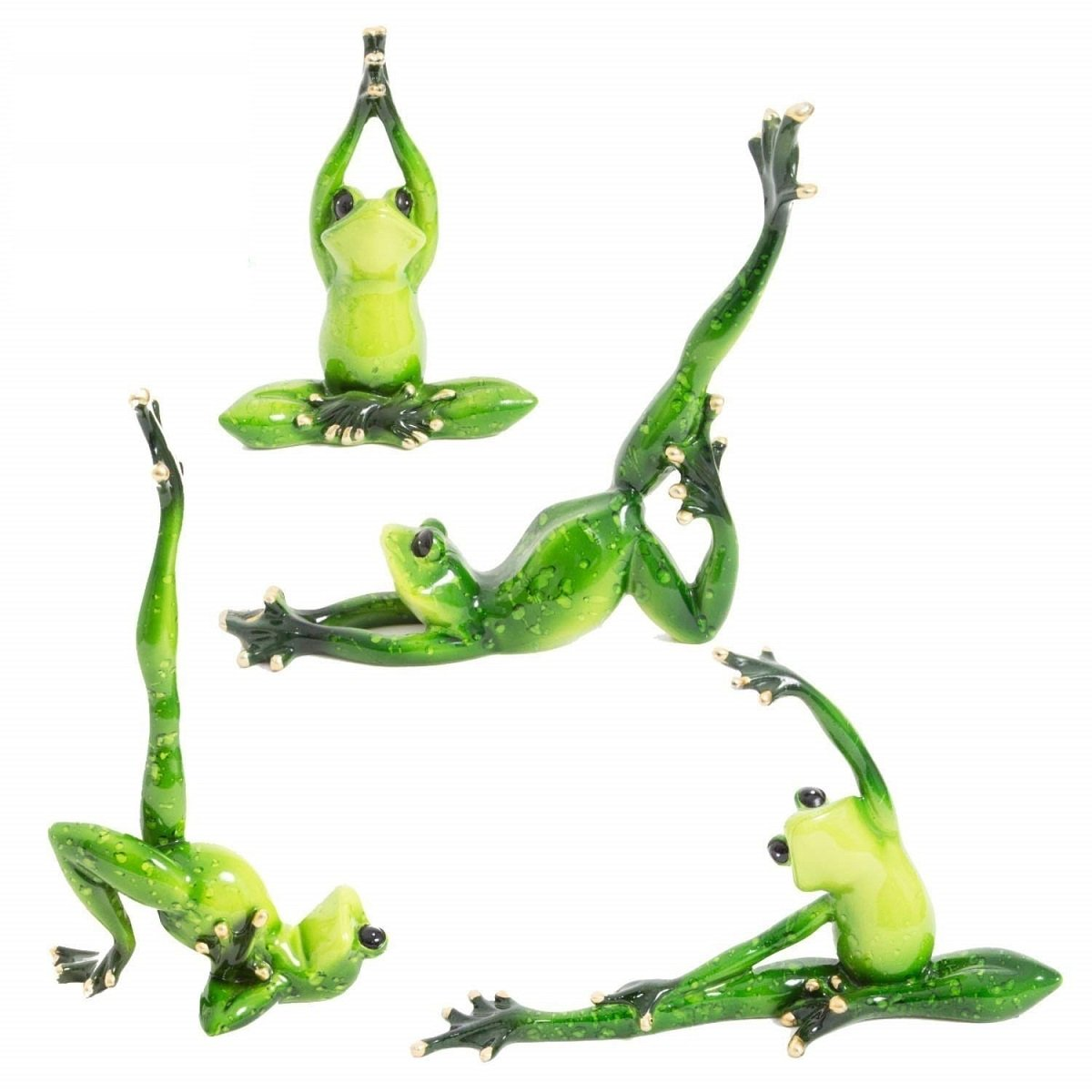 3D Creative Yoga Frog Statues,Adorable Frog Figurines and Sculptures for Home Decor Frog Figurines 4packs Set