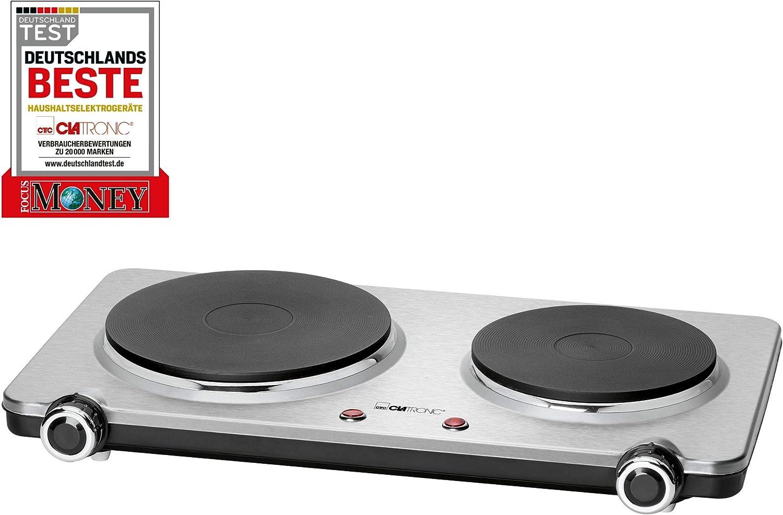 Clatronic DKP 3668 S de acero inoxidable Placa de cocción doble/2 stufenlos regelbare termostatos/2500 W