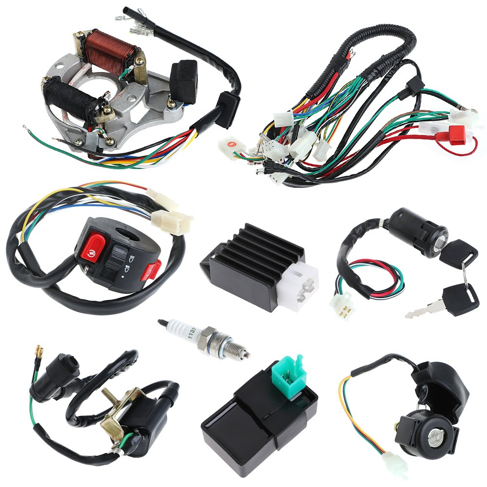 Minireen Full Wiring Harness Loom Kit Cdi Coil Magneto English Kazuma 50cc Atv Diagram Kick Start Engine For 70cc 90cc 110cc 125cc Quad Bike Buggy Go Kart Pit Dirt