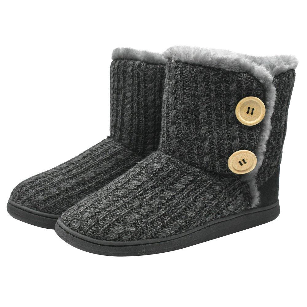 COFACE Womens Slipper Boots Knit Bootie Warm Winter Memory Foam Indoor House Shoes (9-10 B(M) US, Grey)