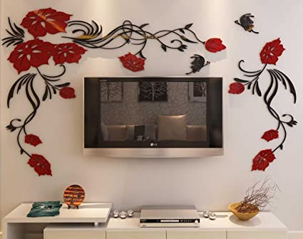 Amazon.com: 3d Flower and Vine Wall Murals for Living Room Bedroom ...
