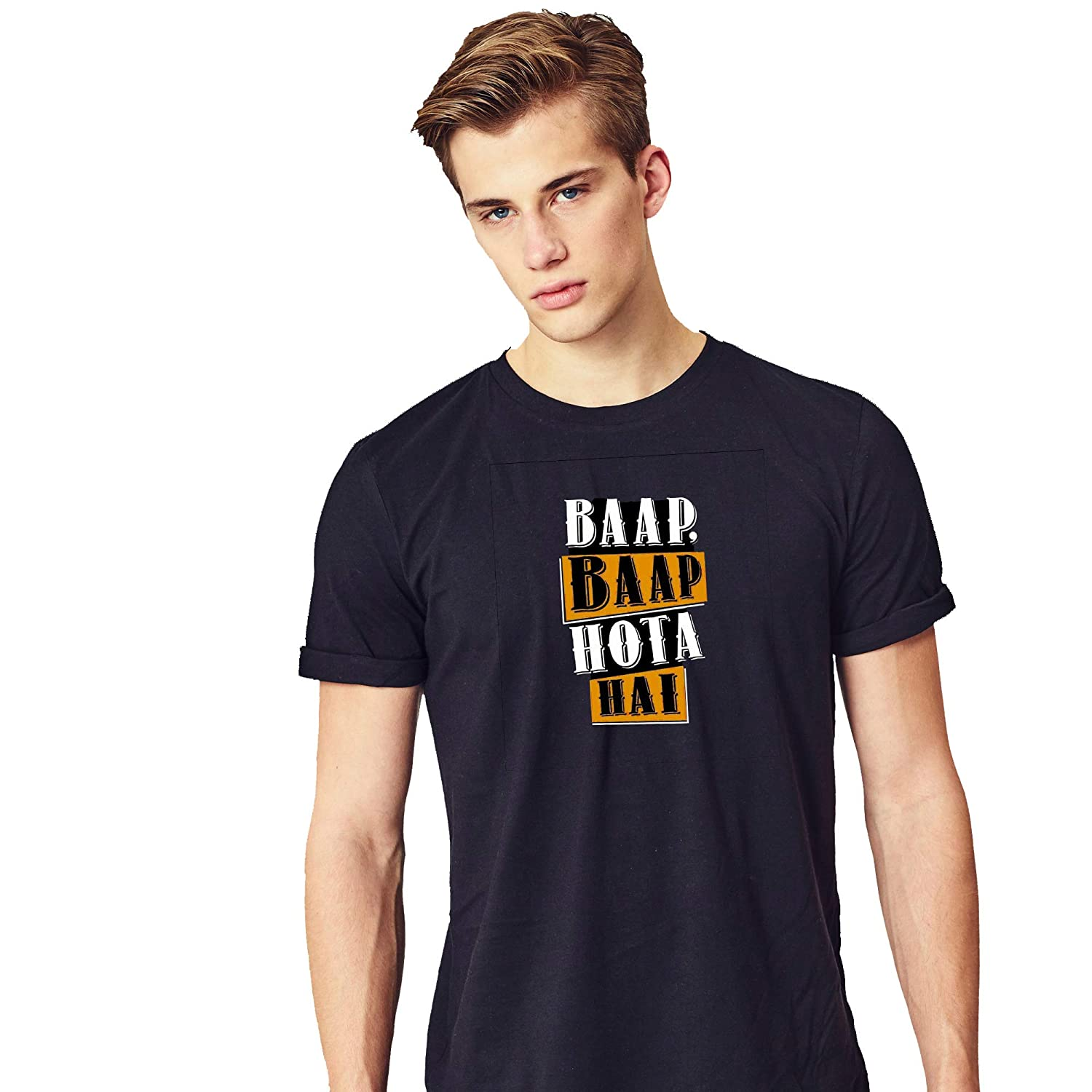 341014ed4 Funny (baap baap hota hai) Printed T Shirt for Men Cotton Round Neck:  Amazon.in: Clothing & Accessories