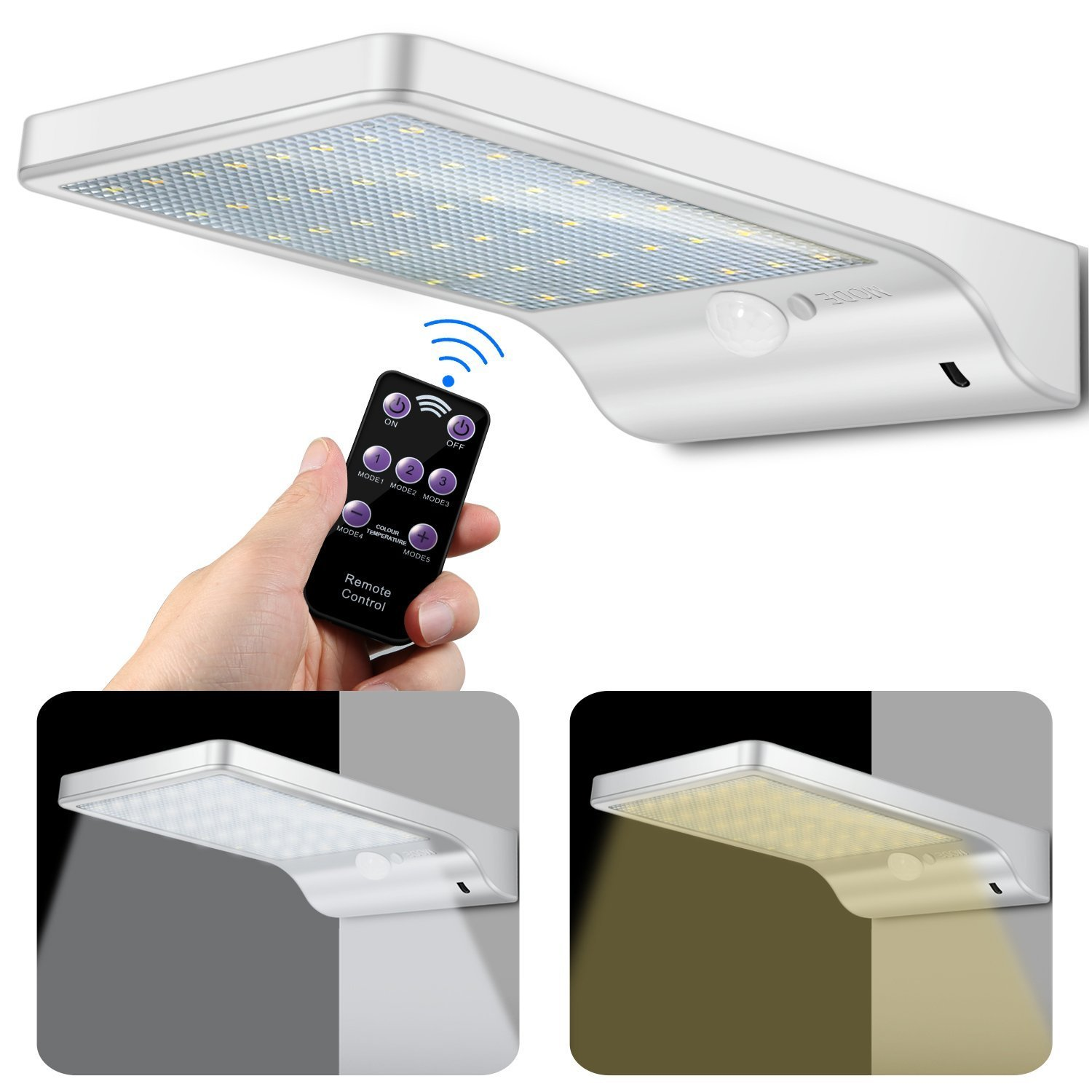 48 LED Solar Lights Outdoor, Motion Sensor Wall Sconces Light with Remote Control and 7 Adjustable Color Temperatures from Cool White to Warm White (Cool + Warm White)