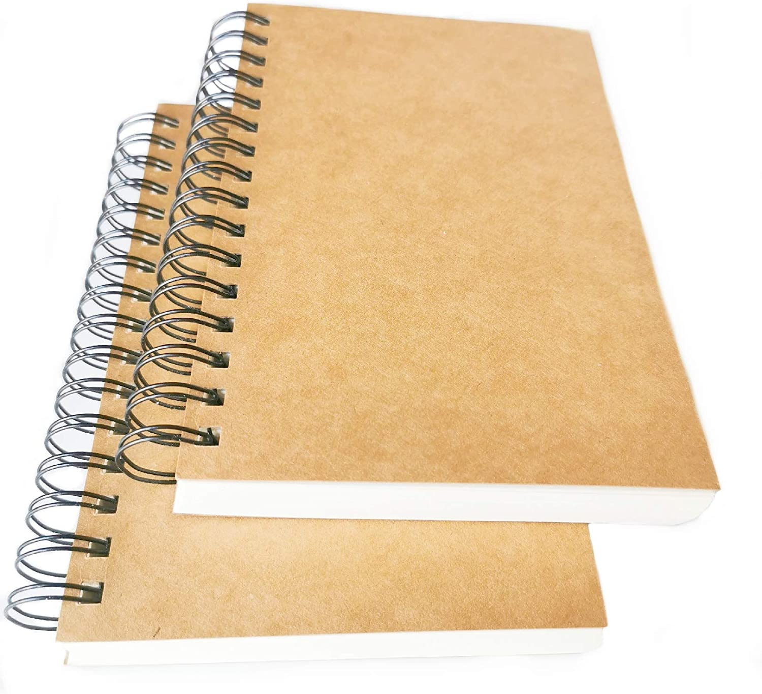 2-Pack A5 Blank Sketch Book Soft Cover Spiral Notebook Journal 120 Pages 5.7 x 8.3 Cream colored paper Blank Black-2pcs