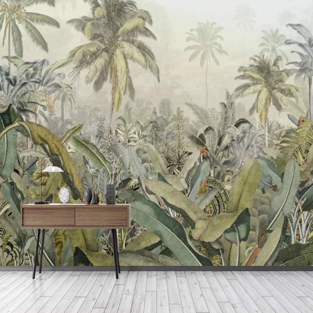 Papier Peint 3D Feuille de bananier for/êt tropicale dessin/ée /à la main Laine papier peint Salon Chambre Bureau Couloir d/écoration Peinture murale d/écor mural moderne 350x256 cm