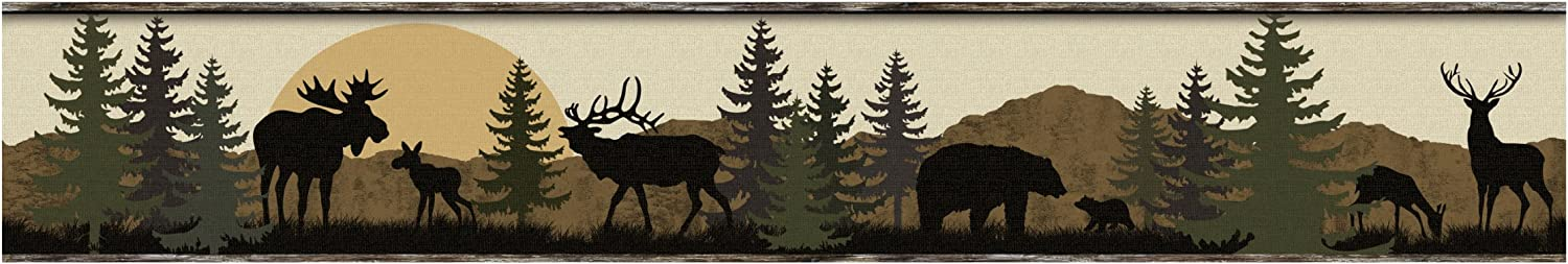 York Wallcoverings Lale Forest Lodge Scenic Silhouette Border, Browns