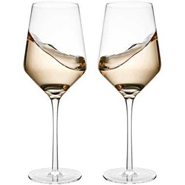 Hand Blown Crystal Wine Glasses - Bella Vino Standard Red / White Wine Glass Made from 100% Lead Free Premium Crystal Glass, 15.5 Oz, 9.1 , Perfect for Any Occasion, Great Gift, Set of 2, Clear