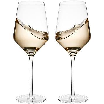 Amazoncom Hand Blown Crystal Wine Glasses Bella Vino Standard
