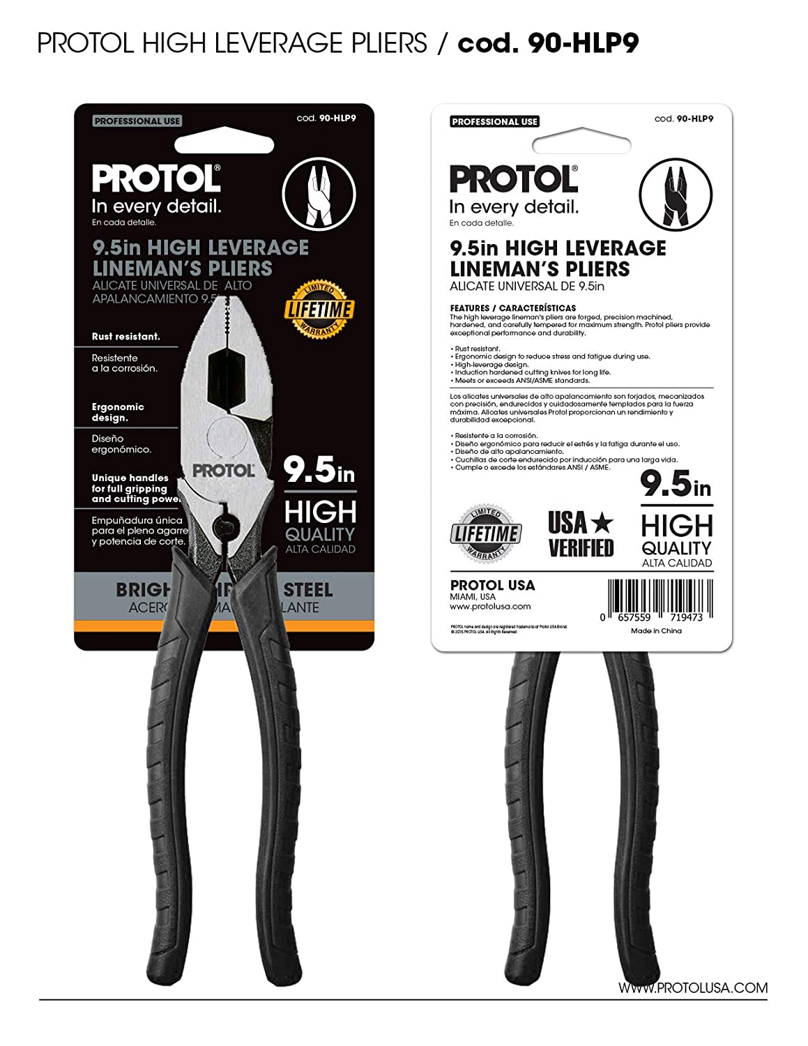 PROTOL 9.5 inches Lineman High Leverage Pliers with side Cutter, Corrosion Resistance Carbon Steel Slip Joint Pliers (90-HLP9) - - Amazon.com