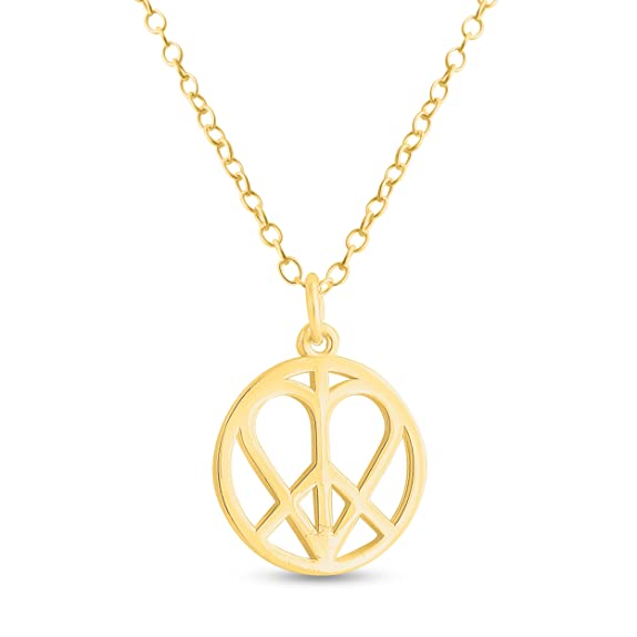 1960s Men's Clothing, 70s Men's Fashion Azaggi 14k Gold Plated Sterling Silver Handcrafted Heart in Peace Sign Hippie Love Pendant Necklace $38.76 AT vintagedancer.com