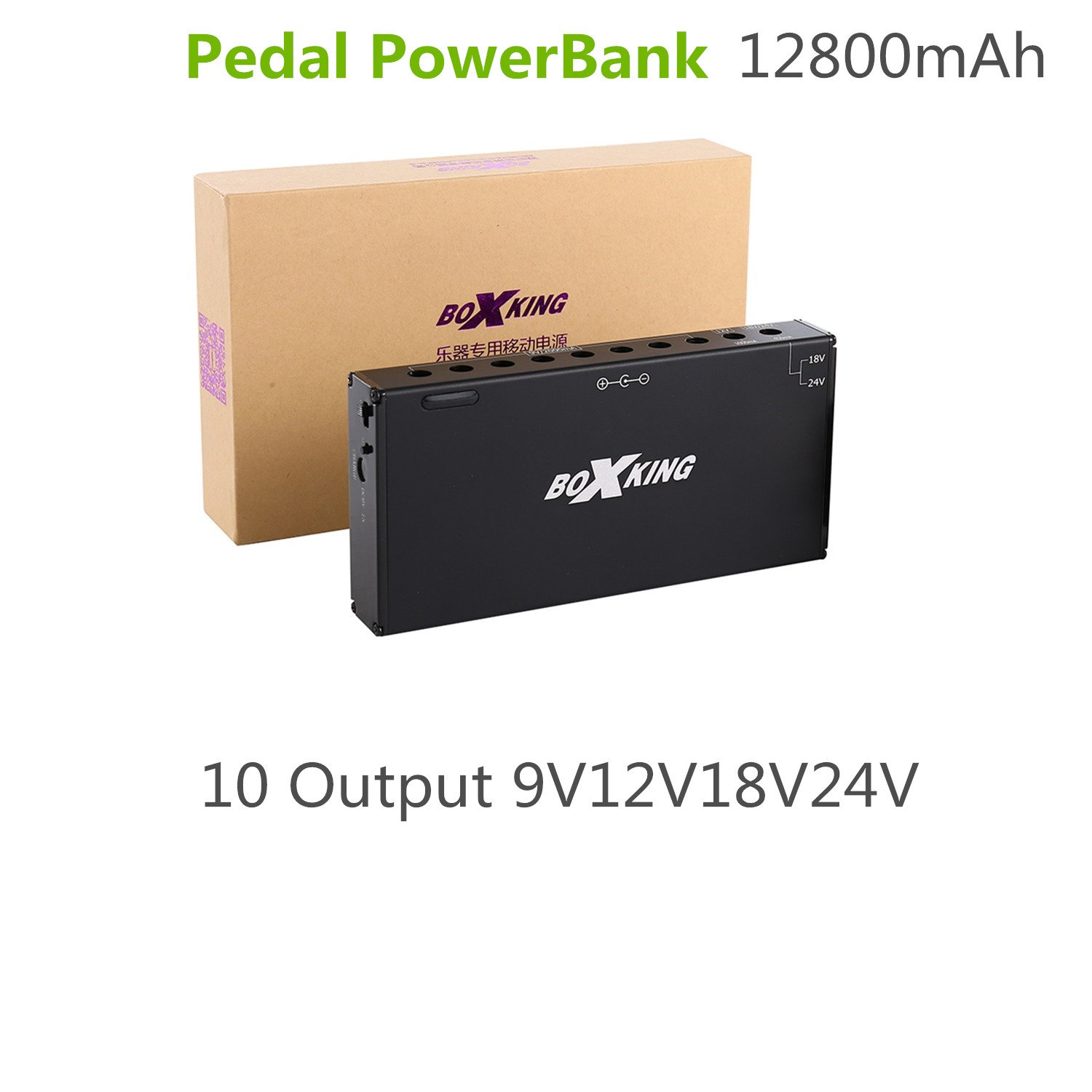 BoxKing BK05 12800mAh PEDAL POWERBANK Rechargeable Portable Pedal Power Supply. Great Solution for Pedalboards and More. by Boxking