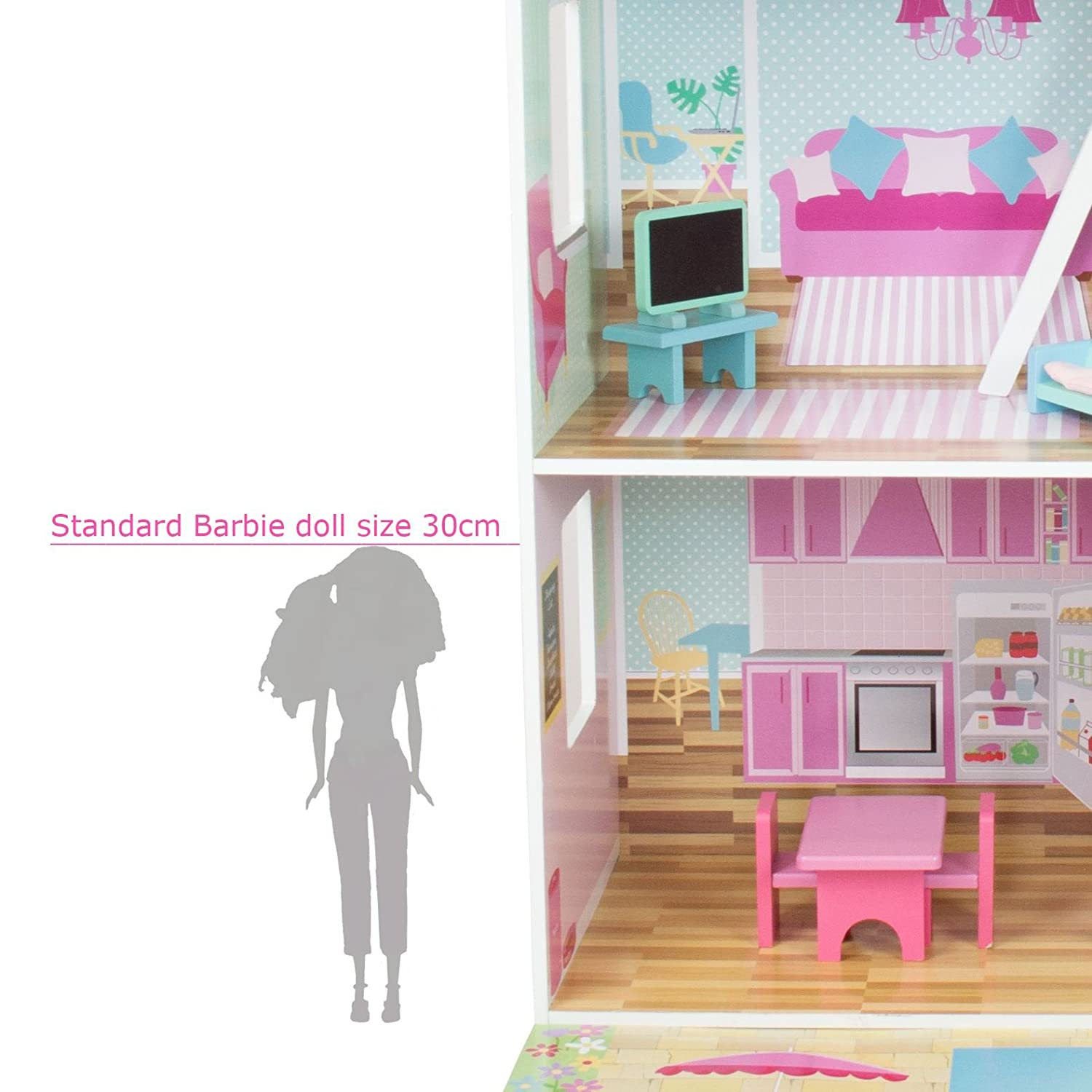 Barbie doll house furniture - Boppi Wooden Dolls House With 15 Furniture Play Accessories Amazon Co Uk Toys Games