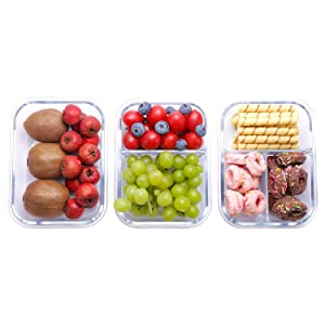 Aibeide Rectangular Glass Meal Prep Containers & Compartment-3 Pack(36 oz),Vented Snap Locking Lids,Airtight & Leak Proof Food Storage Containers-Microwave and Freezer Safe,BPA-FREE