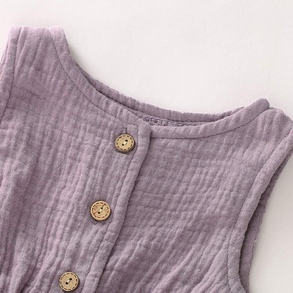 Hongyuangl M/ädchen Baby Infant Neugeborenen Latzhose Einfarbig Strampler Shorts Knopf Bogen G/ürtel Overall