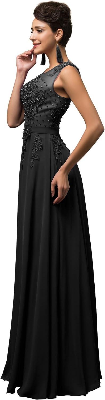 Cl7555-3 48 Lange Damen Abendkleider Ballkleider Partykleider /Ärmellos Chiffon Kleid f/ür Hochzeit Brautjungfer Gr