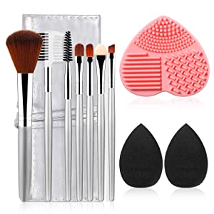 11pcs materasu Original Makeup Brush Set, Synthetic Foundation Face Powder Blush Eyeshadow Brushes Makeup Brush Kit with Makeup Purse/Blender Sponge and Brush Cleaner