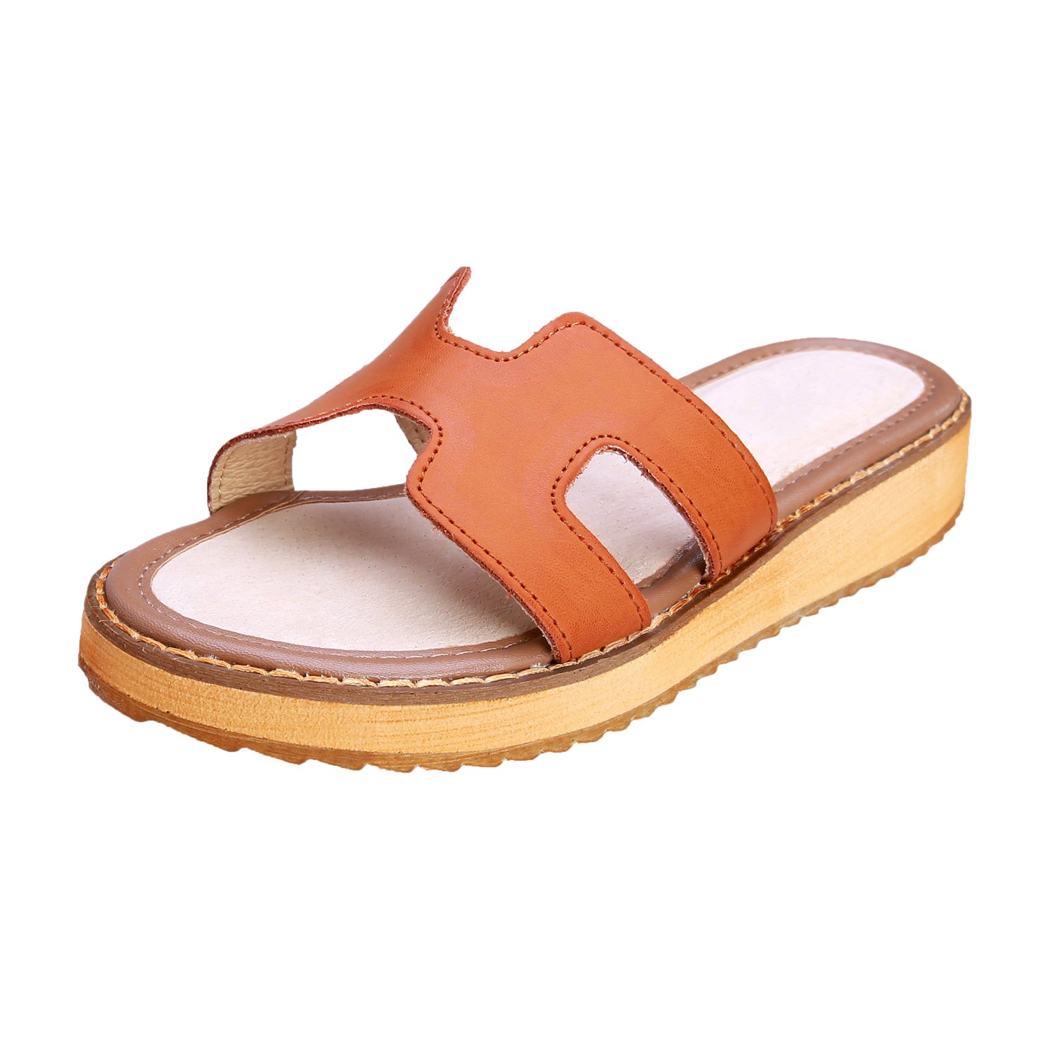 Smilun Girl's Fashion Flip Flops Thongs Sandals Wedge Sandals Flip Flops Thongs Open Toe Sandals Flip Flops Flip Flops Thongs Sandal Summer Sandals Brown US6