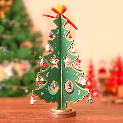 Amazon Com Mini Christmas Tree Diy Wooden Tabletop