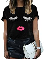 FV RELAY Women's Summer Cute Eyelash Lip Print Tee Casual Teen Girls T Shirts