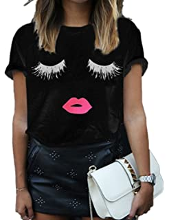 FV RELAY Women s Summer Cute Eyelash Lip Print Tee Casual Teen Girls T  Shirts ecccc99857e9