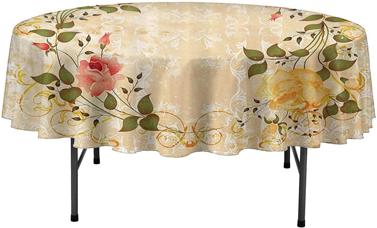 Large 57 x 100 Floral Tablecloth Damask Pinks Yellow Purple Full Bloom Flowers Picnic Summer Spring Wedding