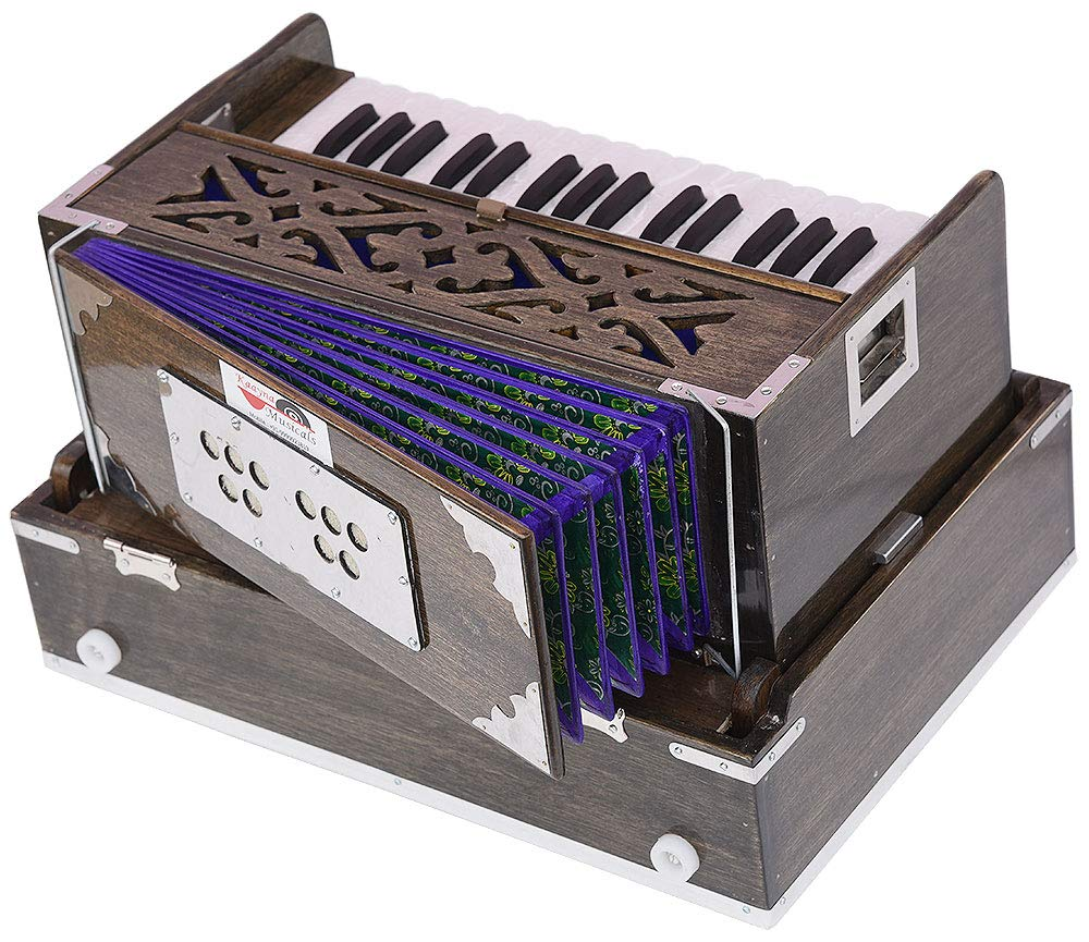 Mini Traveler Harmonium- 2¾ Octave By Kaayna Musicals-Portable, Peti, Baja, 4 Stops (2 Drone), Two Set Reed- Bass/Male, Dark Color, Gig Bag, Tuning: 440 Hz, Suitable for Yoga, Bhajan, Kirtan, Mantra by Kaayna Musicals