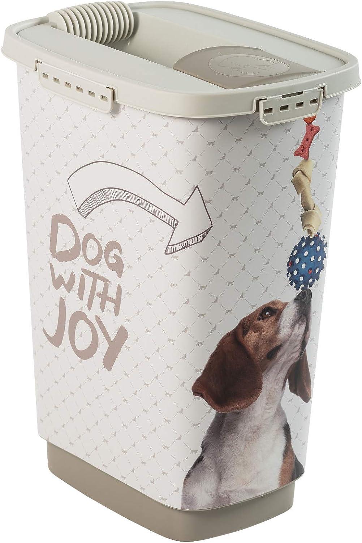 Rotho Cody, Recipiente de comida para mascotas de 25 litros con tapa y vertedor, Plástico PP sin BPA, antracita, blanco, 25l 33.0 x 25.0 x 46.3 cm