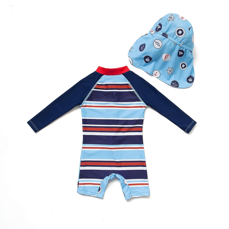 Bonverano TM Baby Infant Boys UPF 50 Sun Protection L//S One Piece Zip Sunsuit Hengxia